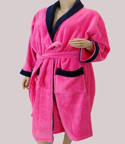 玫红色割绒浴衣 LQ0012