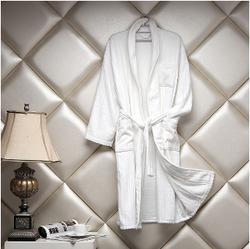 割绒浴袍白色宽条纹
