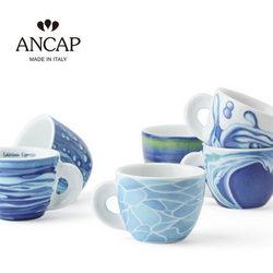 ANCAP海洋系列Preziosa陶瓷咖啡杯六杯六碟套装