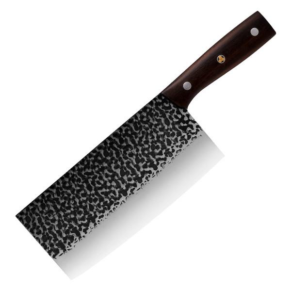 现货手工锻打锤纹菜刀不锈钢砍骨刀厨房切片刀实木手柄砍切刀批发_复制