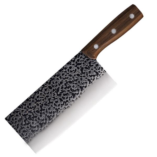 现货不锈钢菜刀 手工锻打锤纹刀 家用砍骨刀 厨房砍切两用厨刀