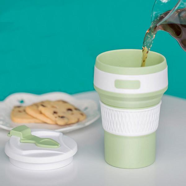 耐高温折叠硅胶杯 可伸缩户外环保水杯 可定制便捷迷你运动水杯