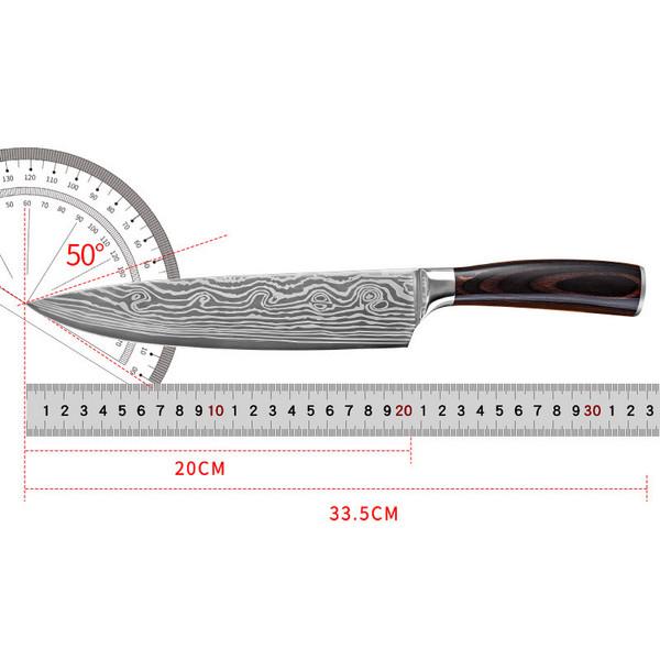 不锈钢8寸厨刀厨房菜刀 7Cr17钢材彩木手柄厨师刀切肉刀