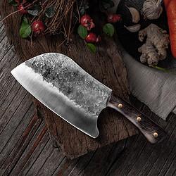 多功能锤纹不锈锰钢肉片瓜木柄厨师刀传统纯手工锻打菜刀切片刀