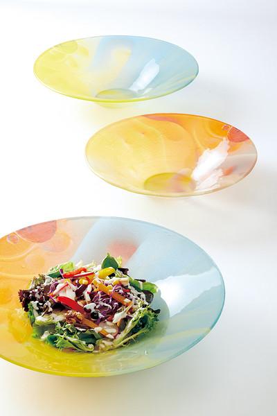 玻璃七彩水果碗