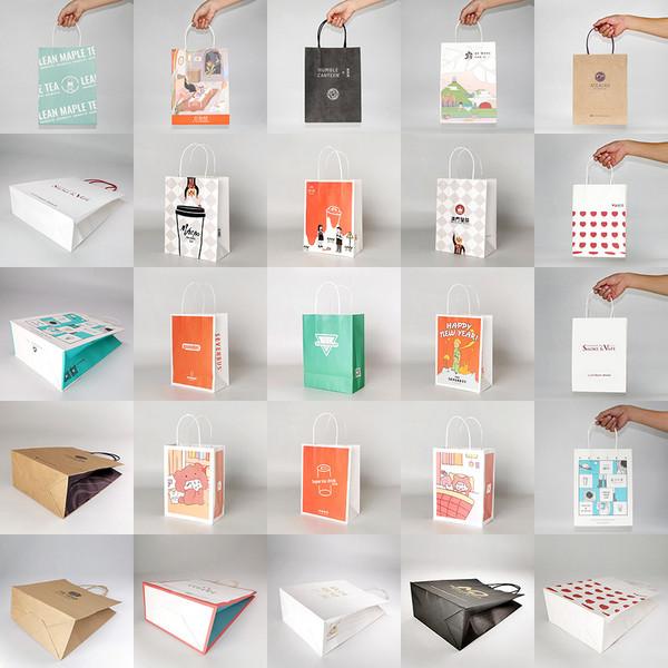 广州牛皮纸打包外卖奶茶手提袋定制彩色环保茶饮牛皮纸手提袋定做