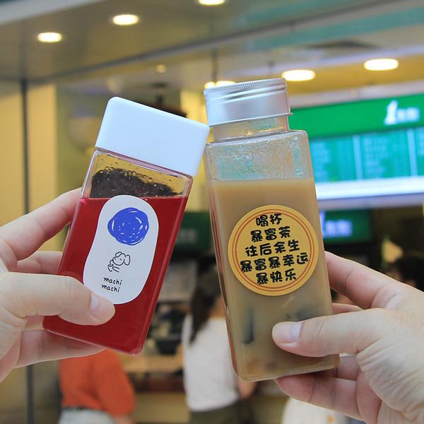奈雪同款定位方瓶pet塑料瓶可插吸管饮料瓶创意便携式果汁方瓶