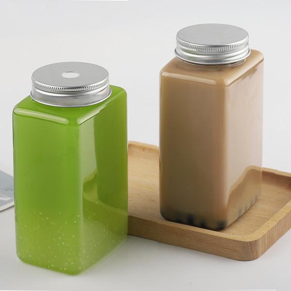 方形塑料瓶奶茶瓶500ml铝盖果汁饮品一次性瓶子PET透明饮料瓶