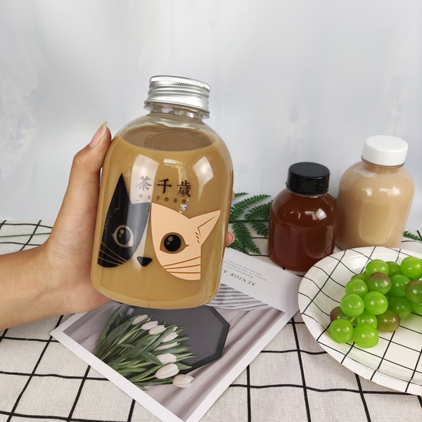 250ml瓶子果汁透明塑料瓶大肚瓶350ml饮料瓶PET奶茶一次性外带瓶