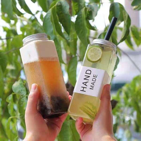 方形500ml一次性网红奶茶饮料咖啡鲜榨果汁塑料PET瓶四方冷泡茶瓶