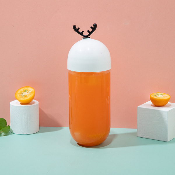 胶囊瓶PET塑料奶茶瓶350ml500ml果汁瓶粉扑包装盒