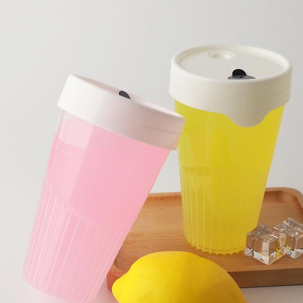 PP防烫竖条纹杯冷泡茶外带瓶一次性奶茶瓶柠檬茶瓶奶茶杯带盖