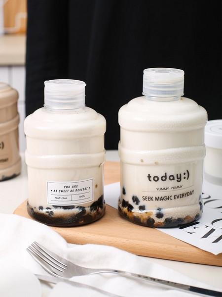 奶茶桶mini瓶可印刷贴标定制颜色外卖果汁饮料瓶蜜雪冰城柠檬水桶