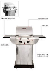 两炉头TRU红外不锈钢燃气烧烤炉